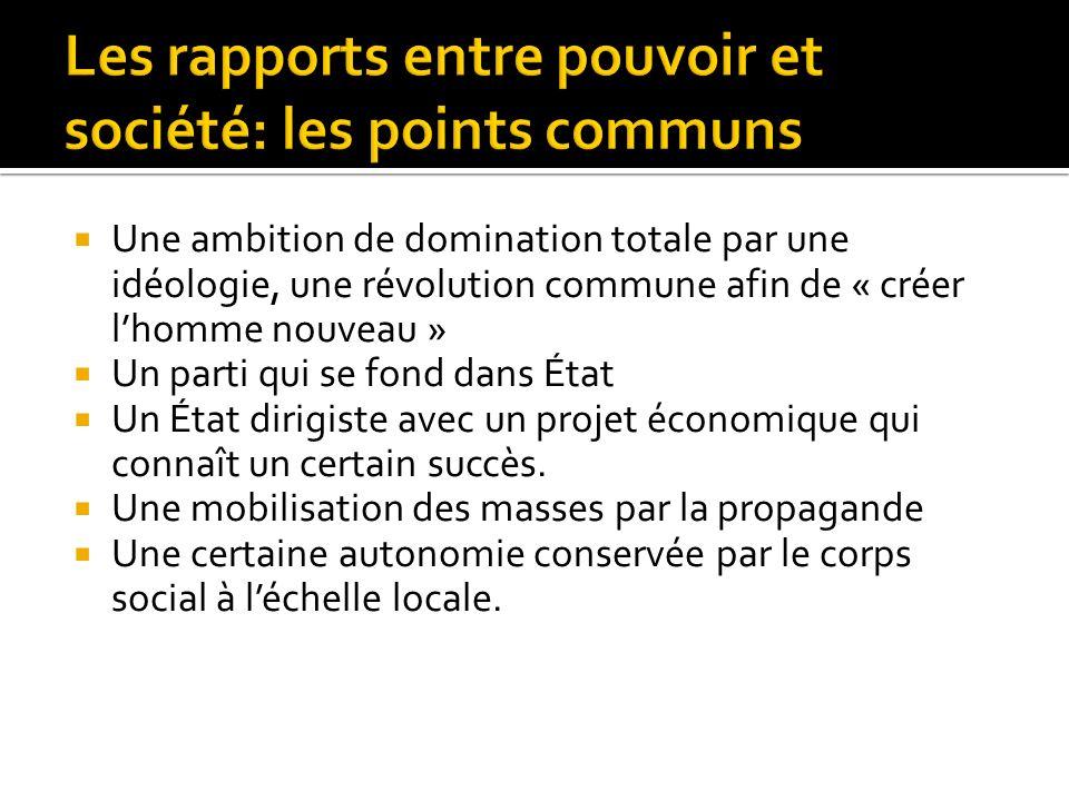 Une ambition de domination totale par une idéologie, une révolution commune afin de « créer lhomme nouveau » Un parti qui se fond dans État Un État di