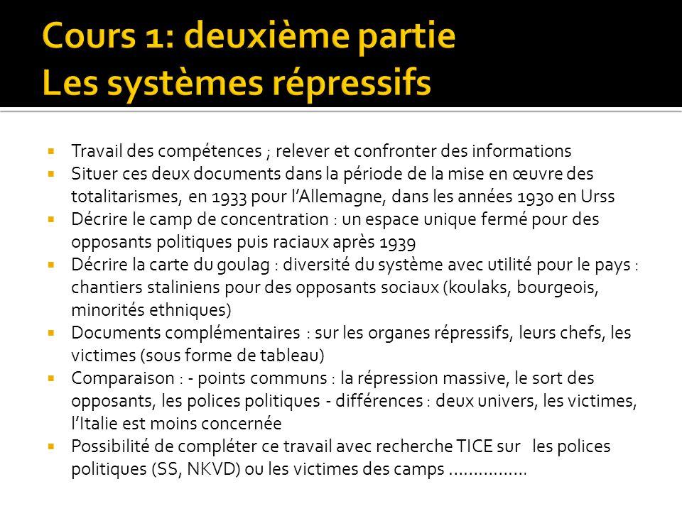 Travail des compétences ; relever et confronter des informations Situer ces deux documents dans la période de la mise en œuvre des totalitarismes, en