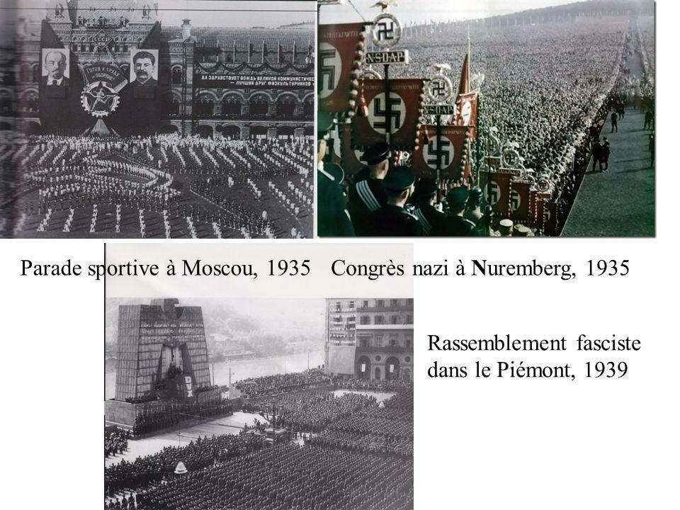 Parade sportive à Moscou, 1935Congrès nazi à Nuremberg, 1935 Rassemblement fasciste dans le Piémont, 1939