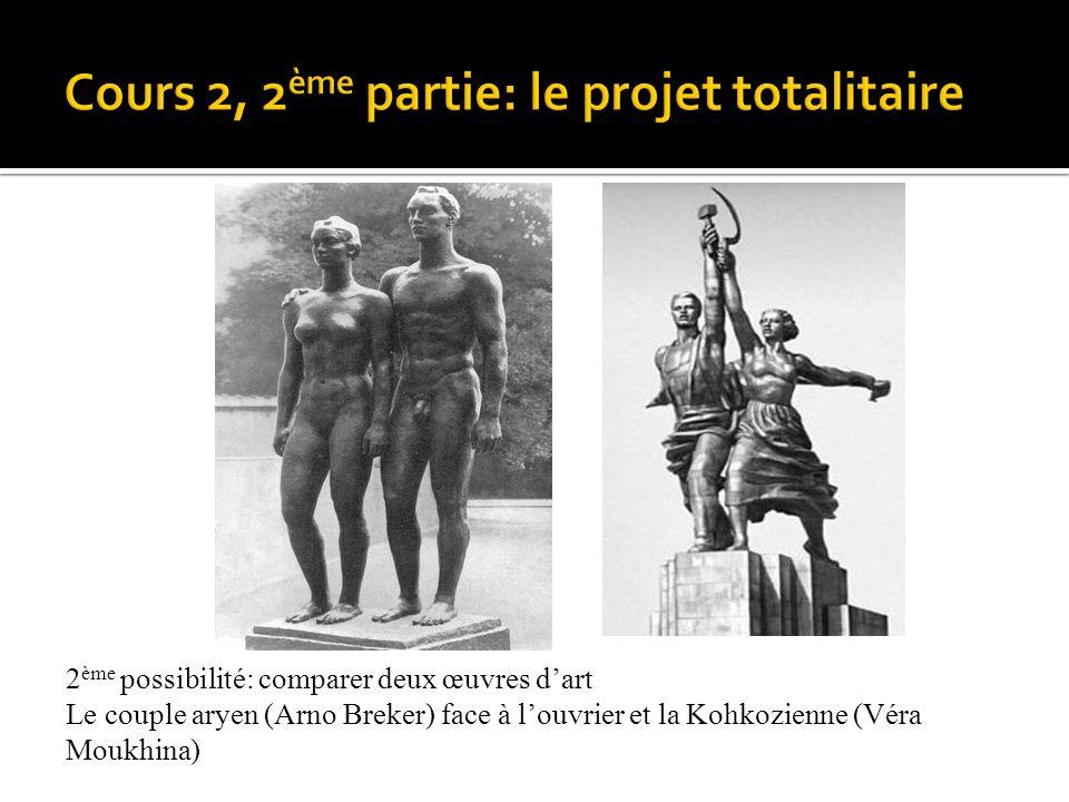 2 ème possibilité: comparer deux œuvres dart Le couple aryen (Arno Breker) face à louvrier et la Kohkozienne (Véra Moukhina)
