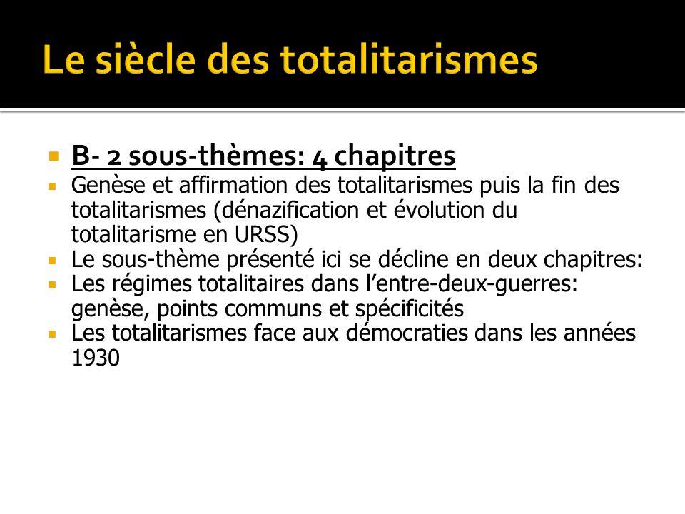 B- 2 sous-thèmes: 4 chapitres Genèse et affirmation des totalitarismes puis la fin des totalitarismes (dénazification et évolution du totalitarisme en