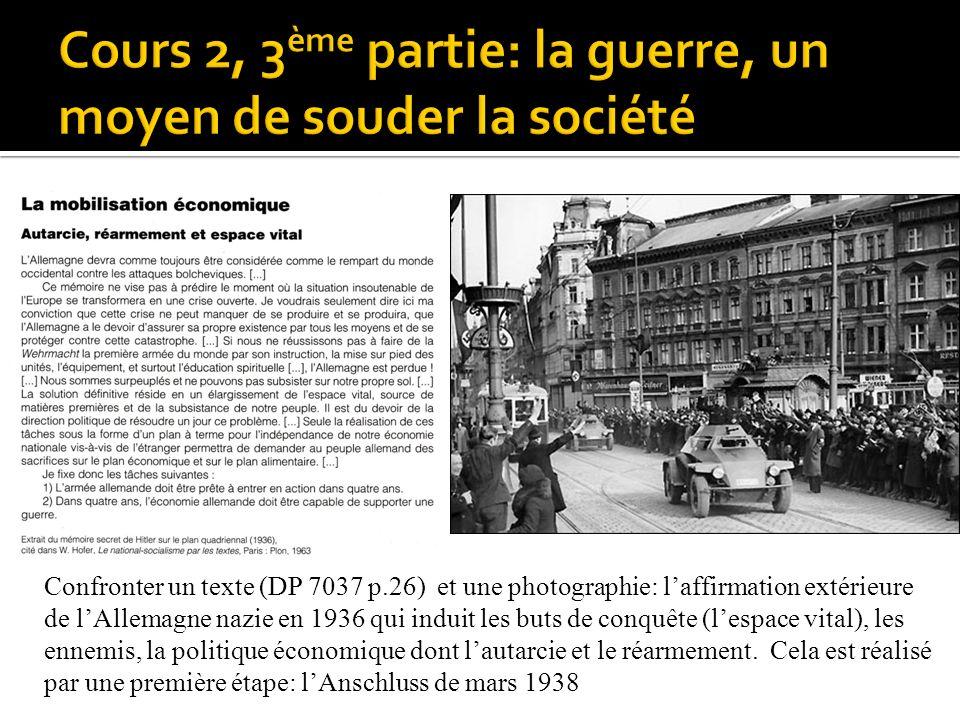 Confronter un texte (DP 7037 p.26) et une photographie: laffirmation extérieure de lAllemagne nazie en 1936 qui induit les buts de conquête (lespace v
