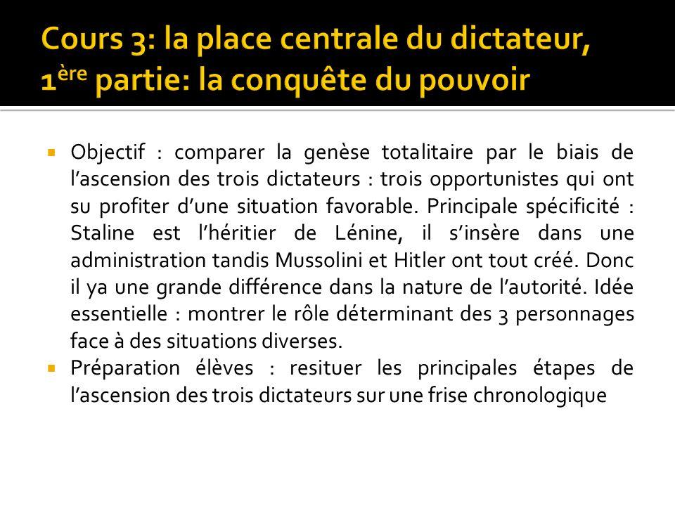 Objectif : comparer la genèse totalitaire par le biais de lascension des trois dictateurs : trois opportunistes qui ont su profiter dune situation fav