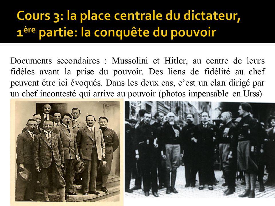 Documents secondaires : Mussolini et Hitler, au centre de leurs fid è les avant la prise du pouvoir. Des liens de fid é lit é au chef peuvent être ici