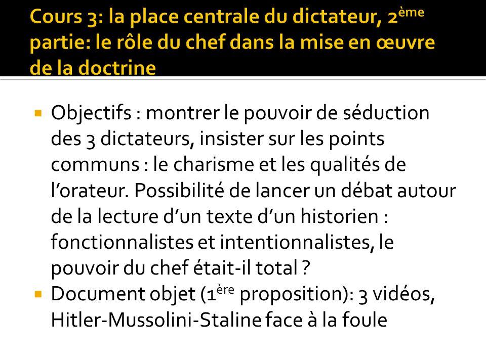Objectifs : montrer le pouvoir de séduction des 3 dictateurs, insister sur les points communs : le charisme et les qualités de lorateur. Possibilité d