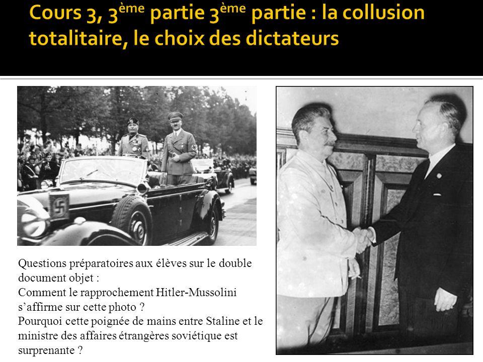 Questions préparatoires aux élèves sur le double document objet : Comment le rapprochement Hitler-Mussolini saffirme sur cette photo ? Pourquoi cette