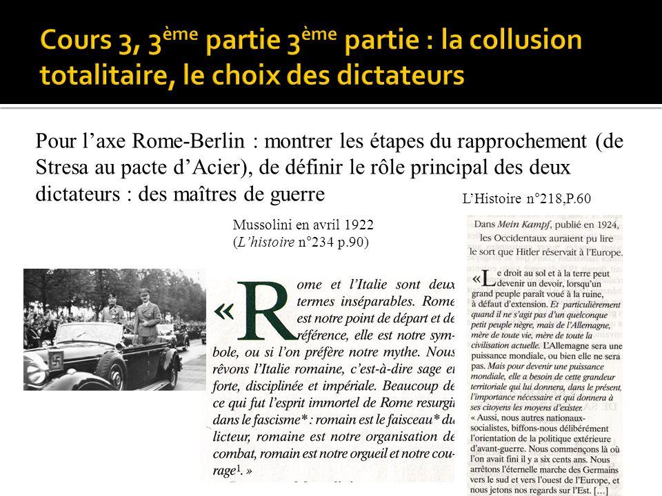 p.90)p.90) Pour laxe Rome-Berlin : montrer les étapes du rapprochement (de Stresa au pacte dAcier), de définir le rôle principal des deux dictateurs :