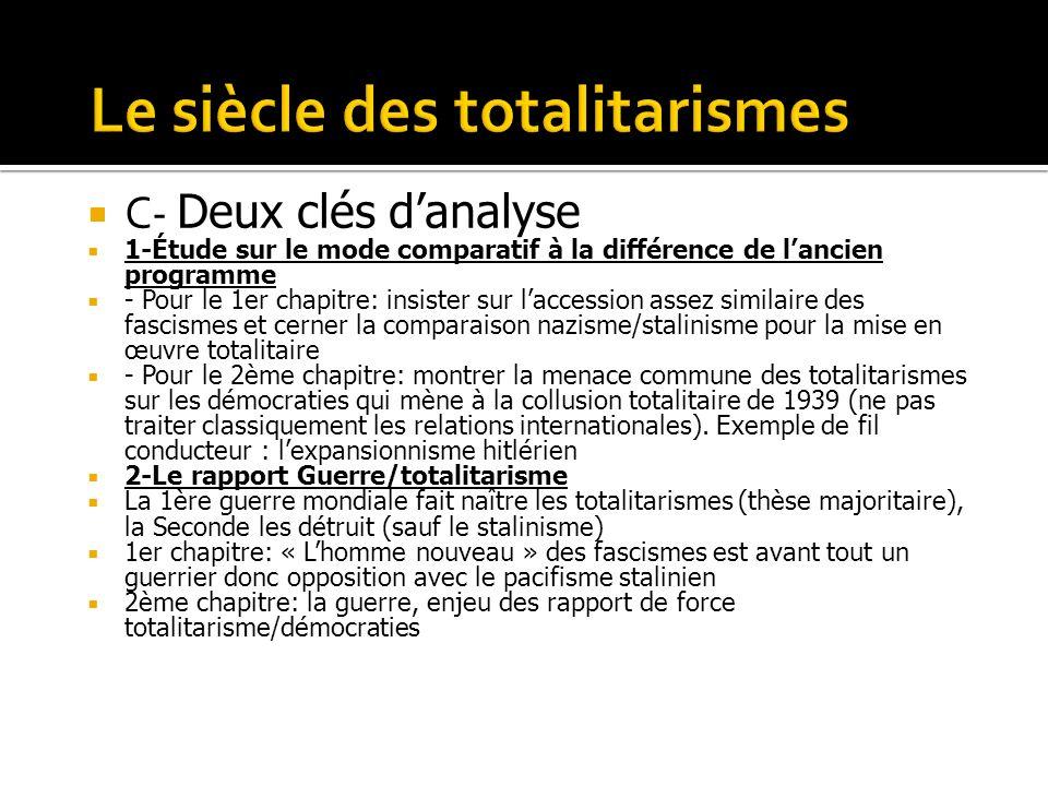 C- Deux clés danalyse 1-Étude sur le mode comparatif à la différence de lancien programme - Pour le 1er chapitre: insister sur laccession assez simila