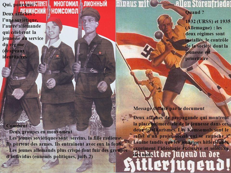 Qui, pourquoi ? Deux affiches : lune soviétique, lautre allemande qui célèbrent la jeunesse au service du régime (drapeaux identitaires Quand ? 1932 (