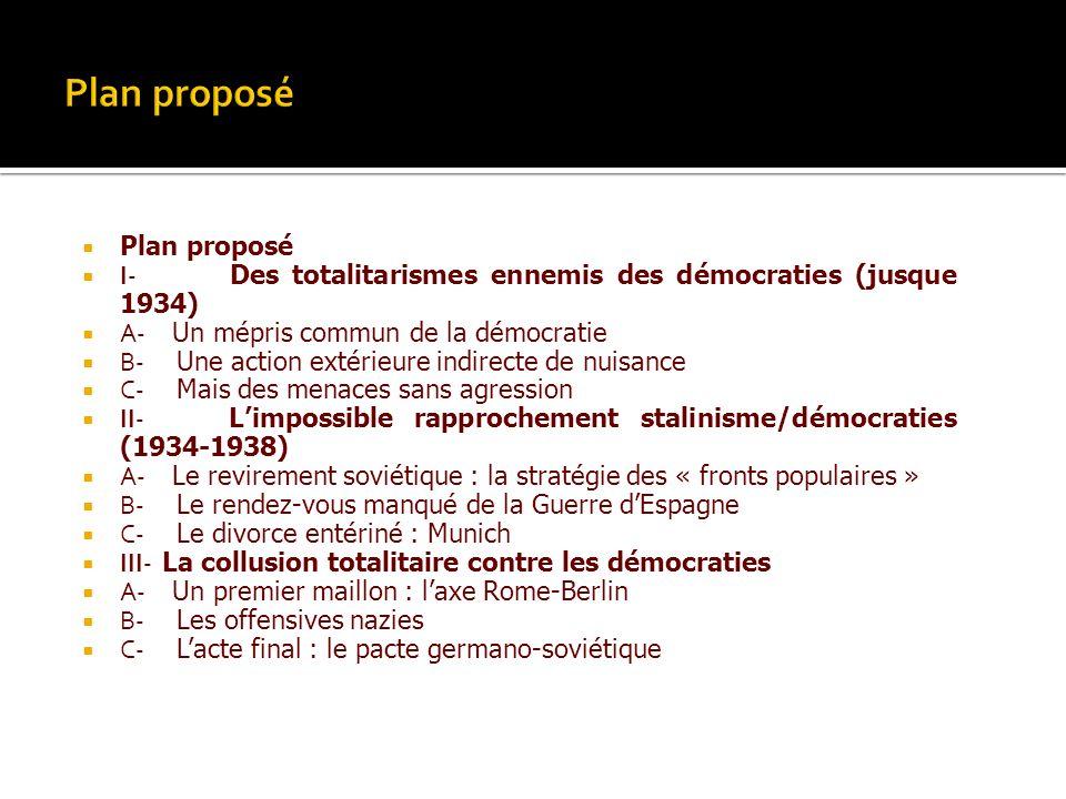 Plan proposé I- Des totalitarismes ennemis des démocraties (jusque 1934) A- Un mépris commun de la démocratie B- Une action extérieure indirecte de nu