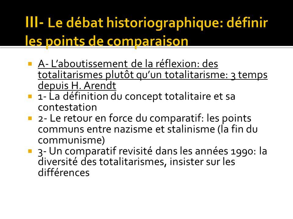 A- Laboutissement de la réflexion: des totalitarismes plutôt quun totalitarisme: 3 temps depuis H. Arendt 1- La définition du concept totalitaire et s