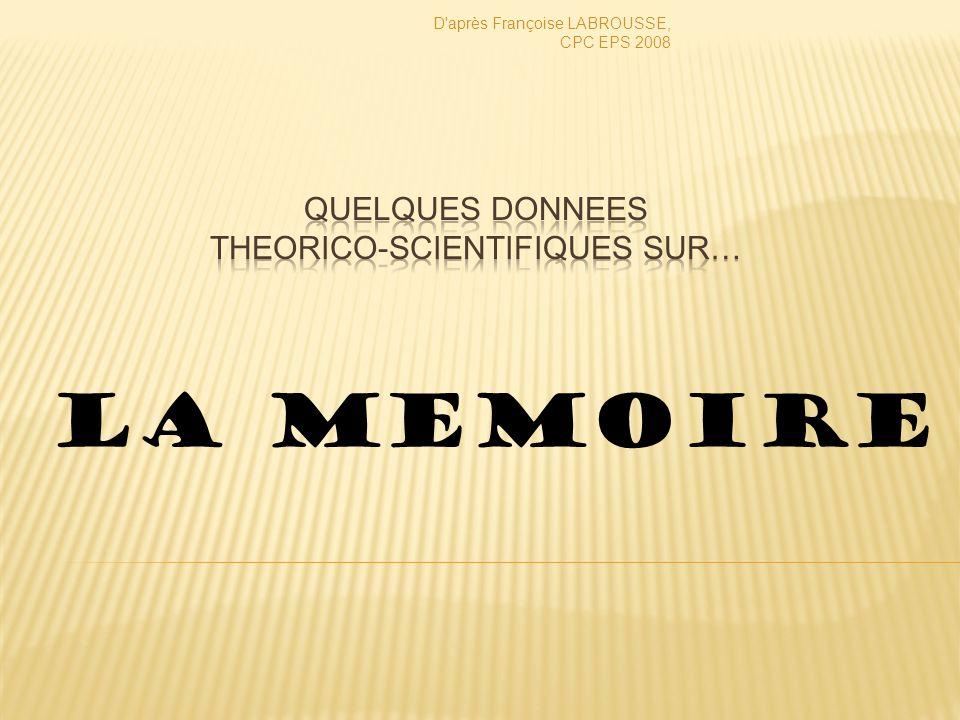 LA MEMOIRE D après Françoise LABROUSSE, CPC EPS 2008