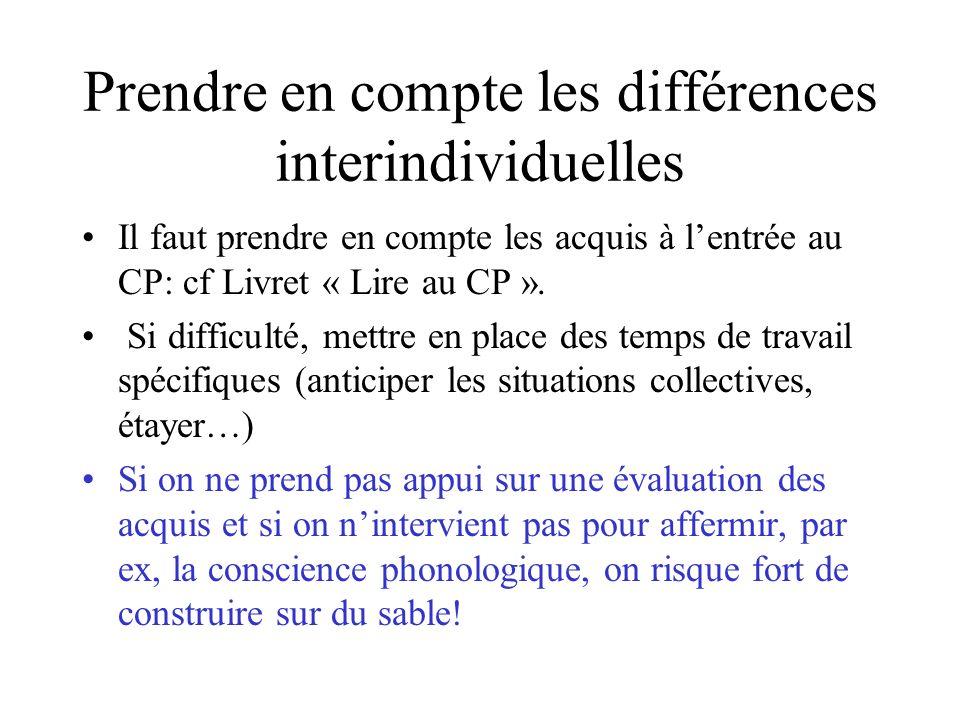 Prendre en compte les différences interindividuelles Il faut prendre en compte les acquis à lentrée au CP: cf Livret « Lire au CP ». Si difficulté, me