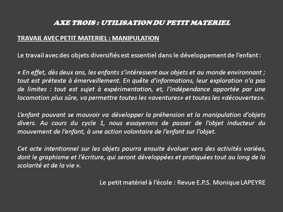 AXE TROIS : UTILISATION DU PETIT MATERIEL TRAVAIL AVEC PETIT MATERIEL : MANIPULATION Le travail avec des objets diversifiés est essentiel dans le déve