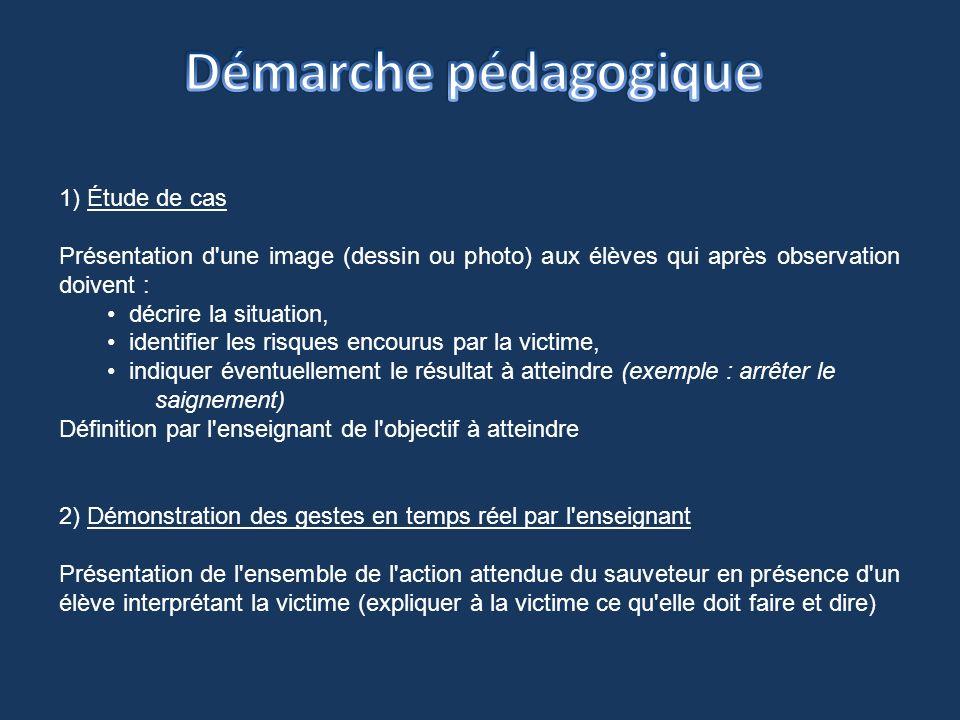 1) Étude de cas Présentation d'une image (dessin ou photo) aux élèves qui après observation doivent : décrire la situation, identifier les risques enc