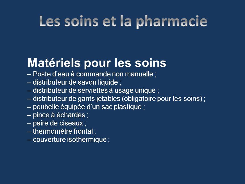 Matériels pour les soins – Poste deau à commande non manuelle ; – distributeur de savon liquide ; – distributeur de serviettes à usage unique ; – dist
