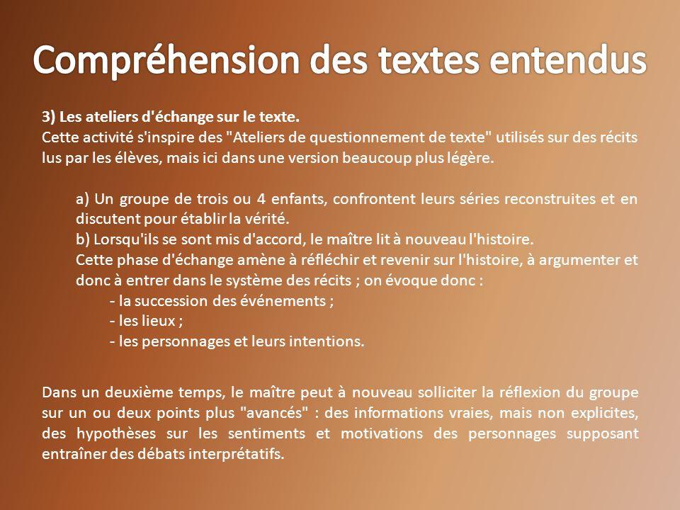 3) Les ateliers d'échange sur le texte. Cette activité s'inspire des