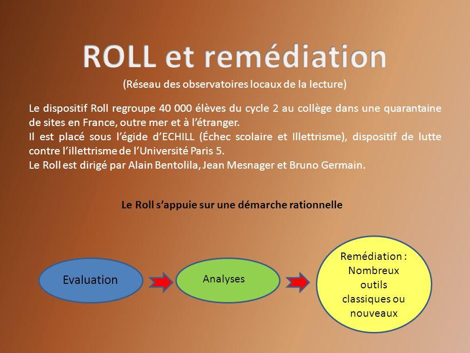 Le dispositif Roll regroupe 40 000 élèves du cycle 2 au collège dans une quarantaine de sites en France, outre mer et à létranger. Il est placé sous l