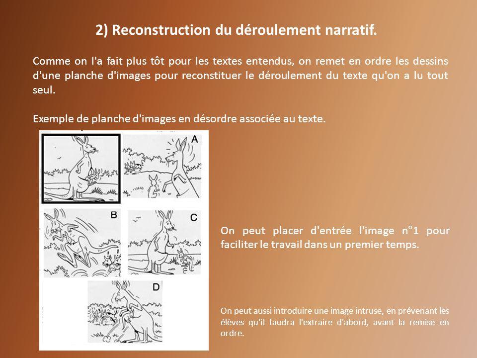 2) Reconstruction du déroulement narratif. Comme on l'a fait plus tôt pour les textes entendus, on remet en ordre les dessins d'une planche d'images p