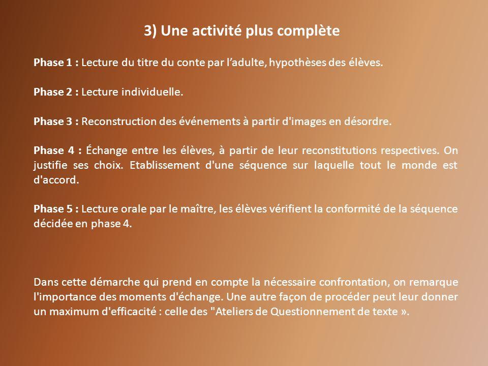 3) Une activité plus complète Phase 1 : Lecture du titre du conte par ladulte, hypothèses des élèves. Phase 2 : Lecture individuelle. Phase 3 : Recons