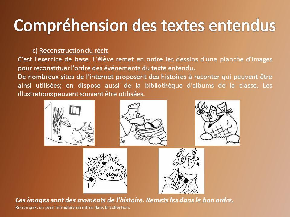 c) Reconstruction du récit C'est l'exercice de base. L'élève remet en ordre les dessins d'une planche d'images pour reconstituer l'ordre des événement