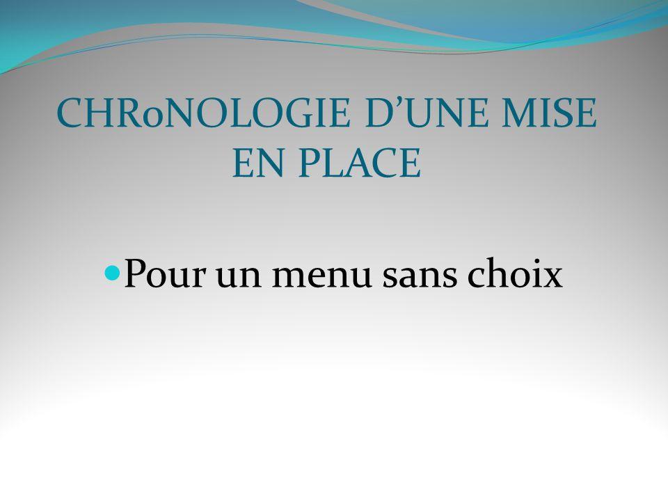 CHR0NOLOGIE DUNE MISE EN PLACE Pour un menu sans choix
