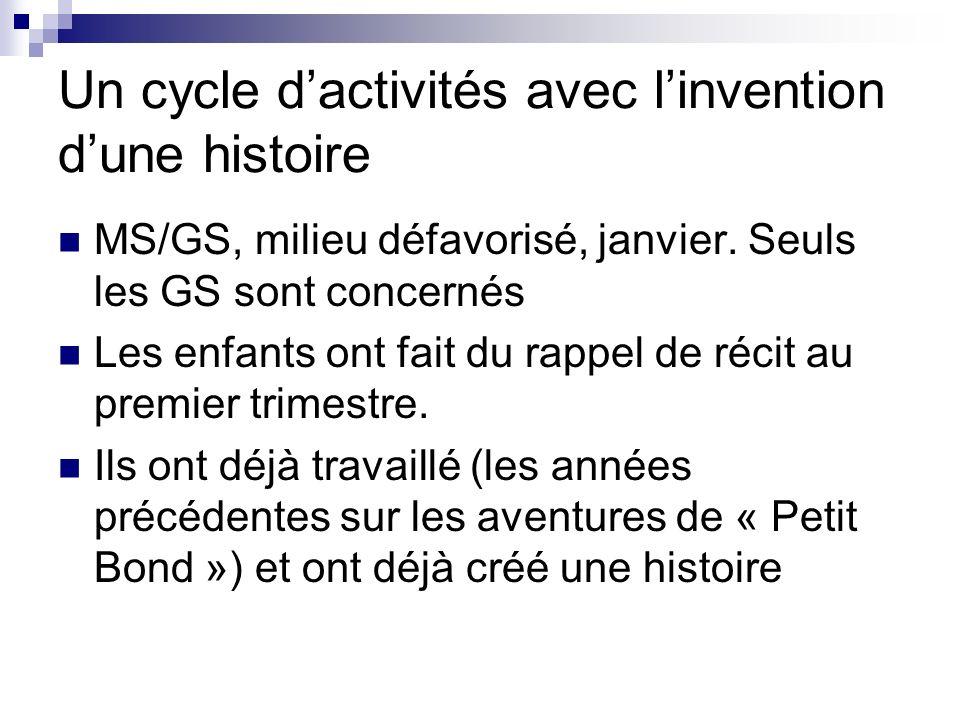Un cycle dactivités avec linvention dune histoire MS/GS, milieu défavorisé, janvier. Seuls les GS sont concernés Les enfants ont fait du rappel de réc