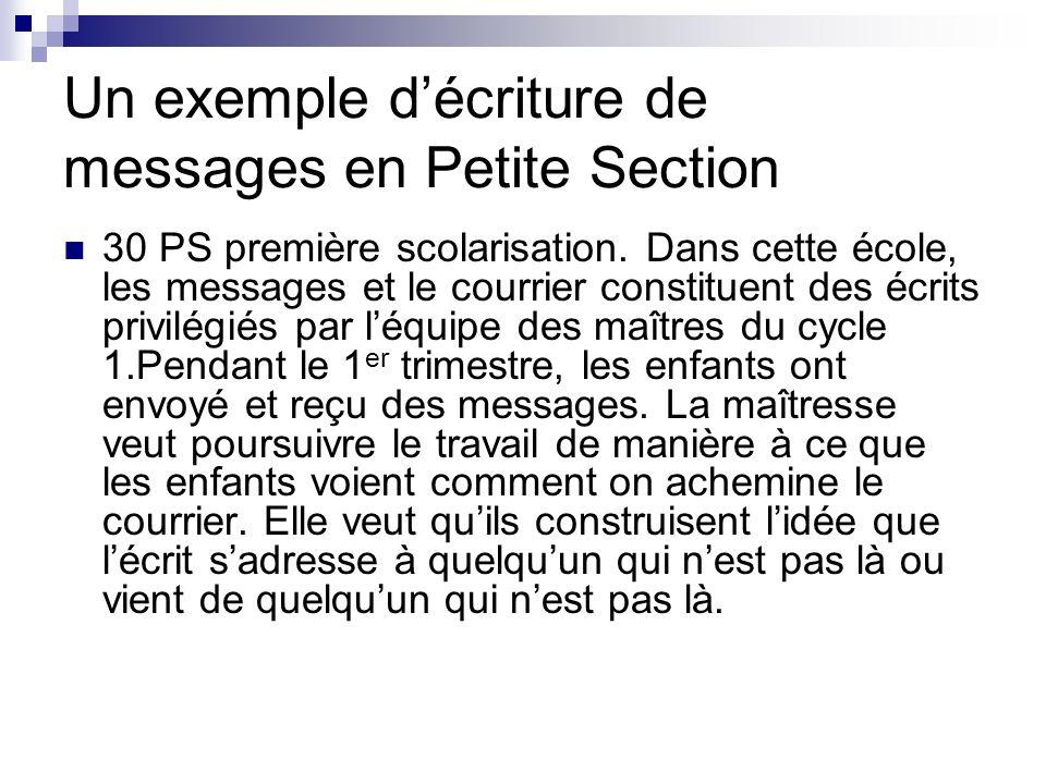 Un exemple décriture de messages en Petite Section 30 PS première scolarisation. Dans cette école, les messages et le courrier constituent des écrits