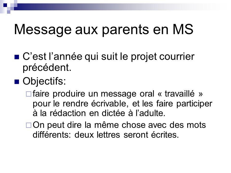 Message aux parents en MS Cest lannée qui suit le projet courrier précédent. Objectifs: faire produire un message oral « travaillé » pour le rendre éc