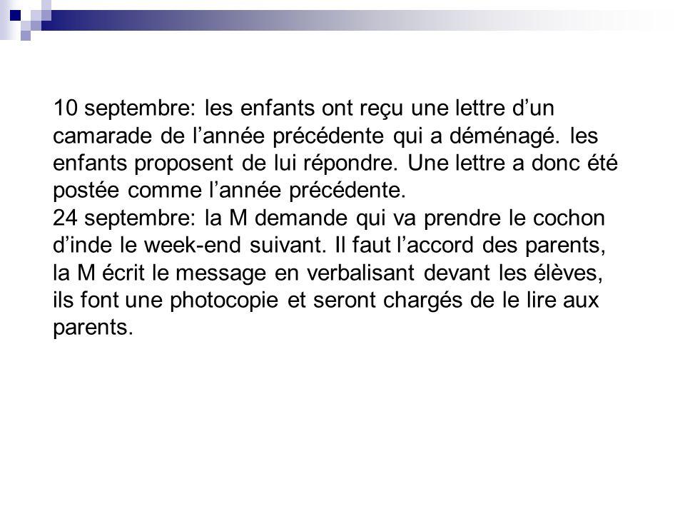 10 septembre: les enfants ont reçu une lettre dun camarade de lannée précédente qui a déménagé. les enfants proposent de lui répondre. Une lettre a do
