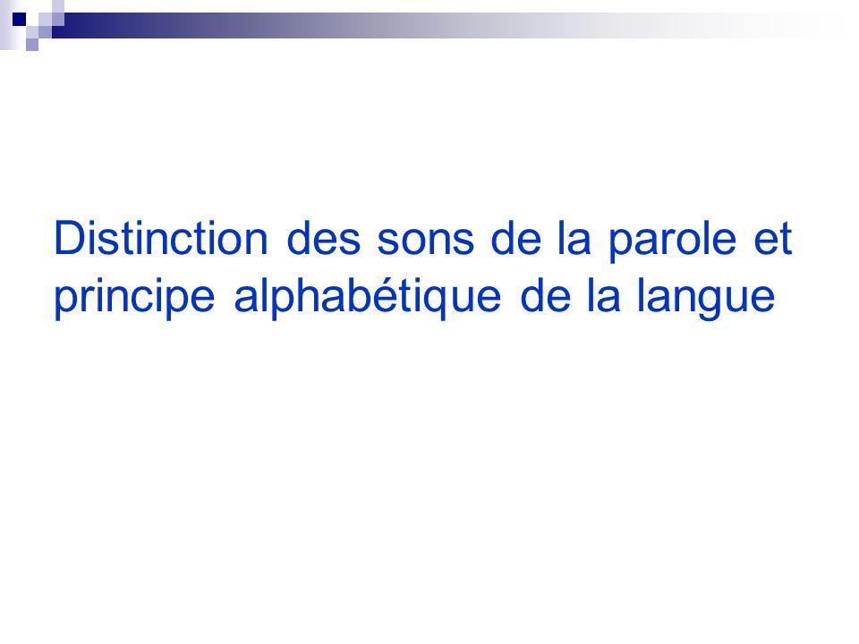 Distinction des sons de la parole et principe alphabétique de la langue