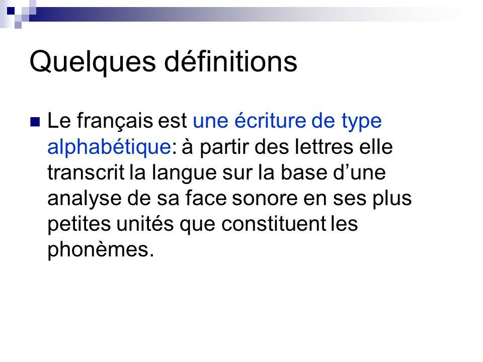 Quelques définitions Le français est une écriture de type alphabétique: à partir des lettres elle transcrit la langue sur la base dune analyse de sa f