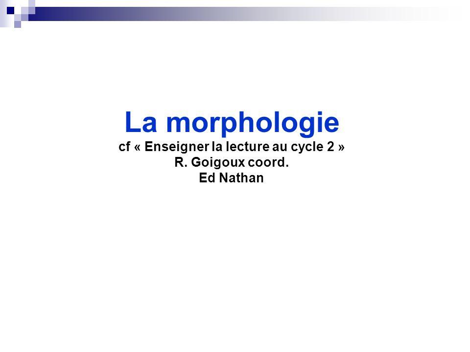 La morphologie cf « Enseigner la lecture au cycle 2 » R. Goigoux coord. Ed Nathan