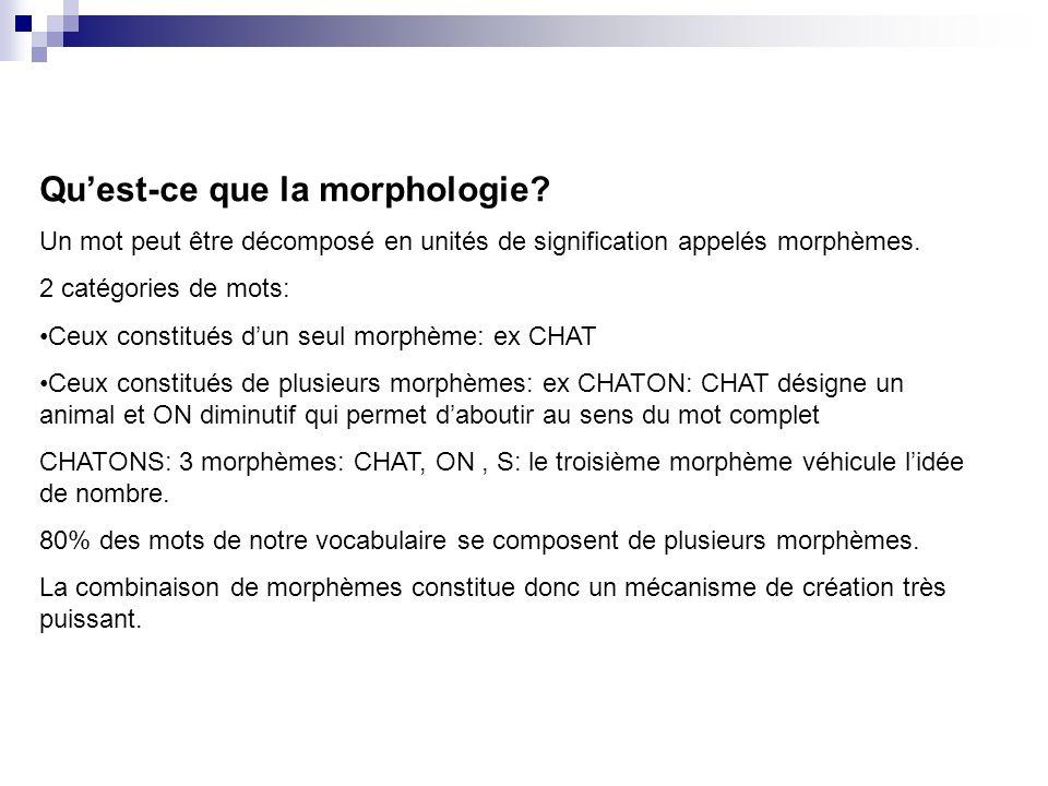 Quest-ce que la morphologie? Un mot peut être décomposé en unités de signification appelés morphèmes. 2 catégories de mots: Ceux constitués dun seul m