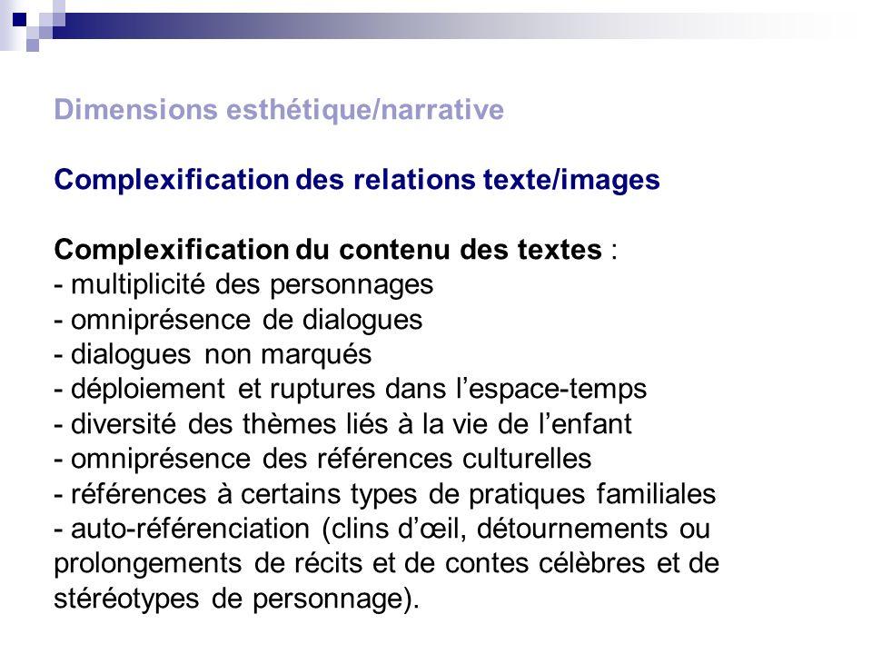 Dimensions esthétique/narrative Complexification des relations texte/images Complexification du contenu des textes : - multiplicité des personnages -