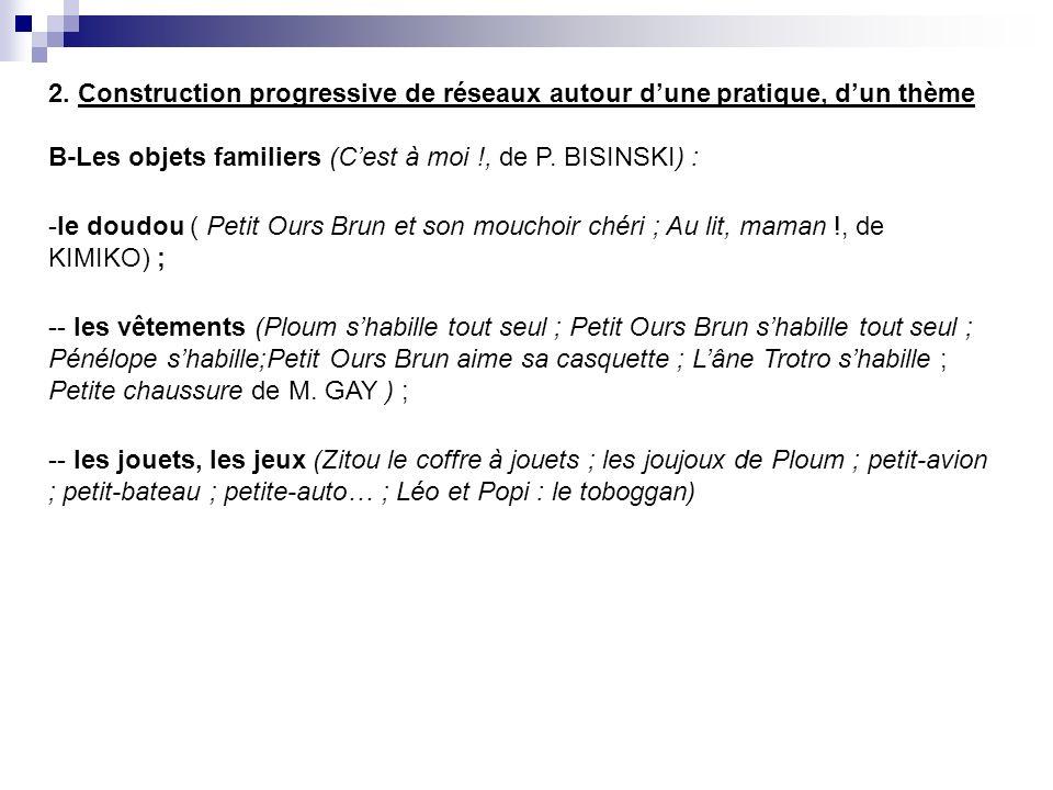 2. Construction progressive de réseaux autour dune pratique, dun thème B-Les objets familiers (Cest à moi !, de P. BISINSKI) : -le doudou ( Petit Ours