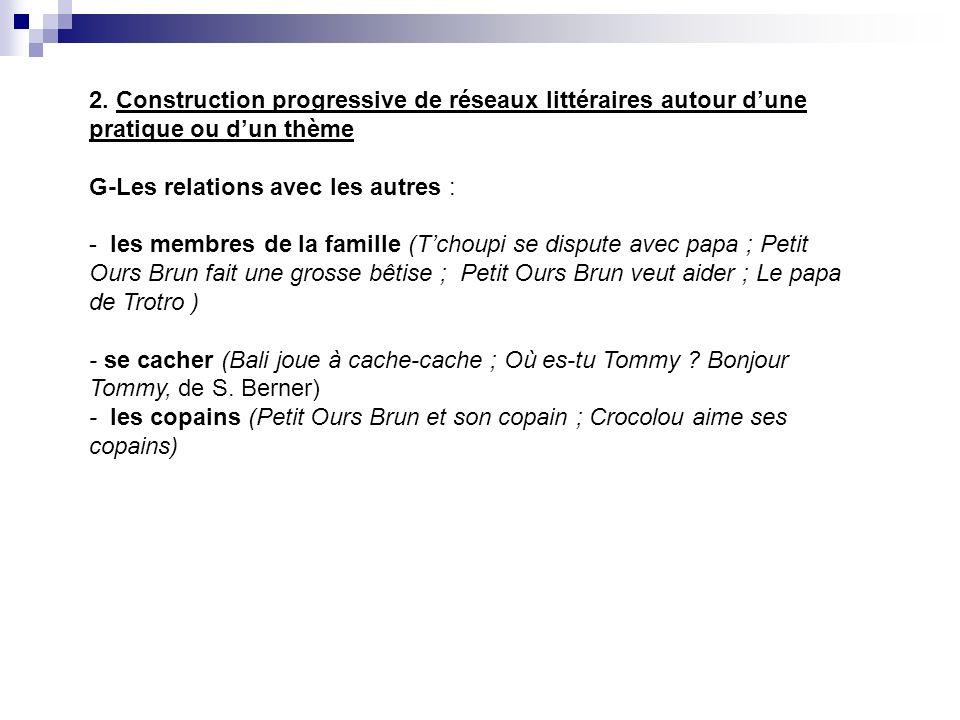 2. Construction progressive de réseaux littéraires autour dune pratique ou dun thème G-Les relations avec les autres : - les membres de la famille (Tc