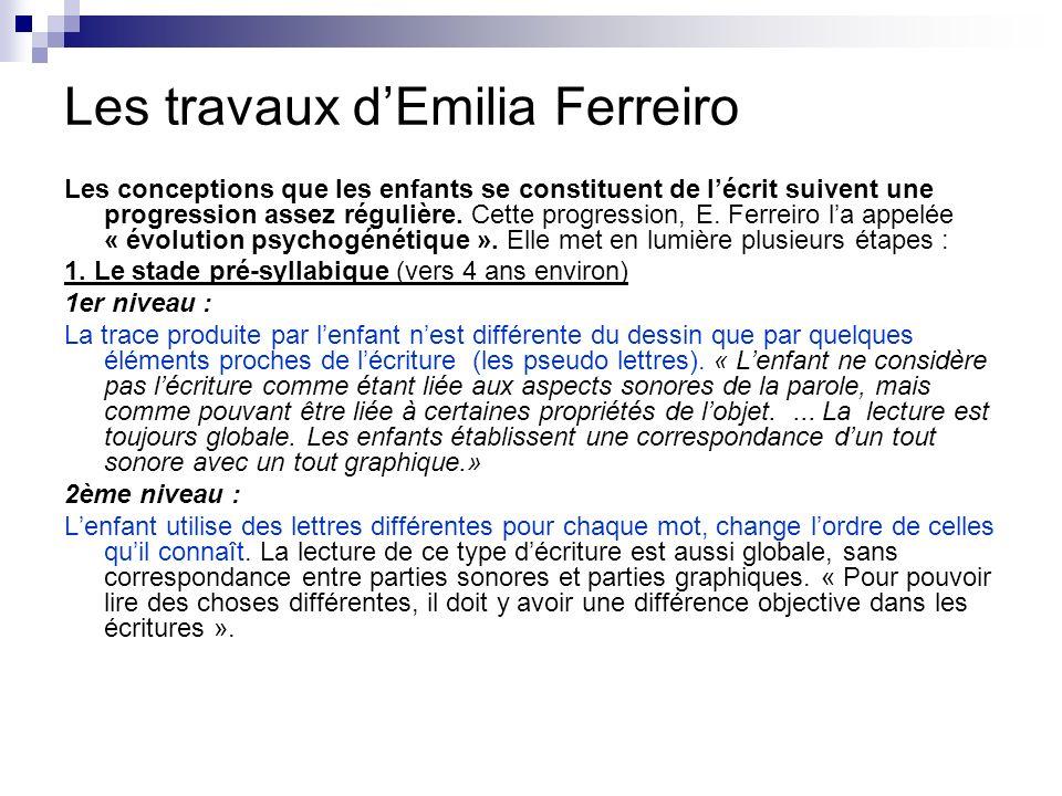 Les travaux dEmilia Ferreiro Les conceptions que les enfants se constituent de lécrit suivent une progression assez régulière. Cette progression, E. F