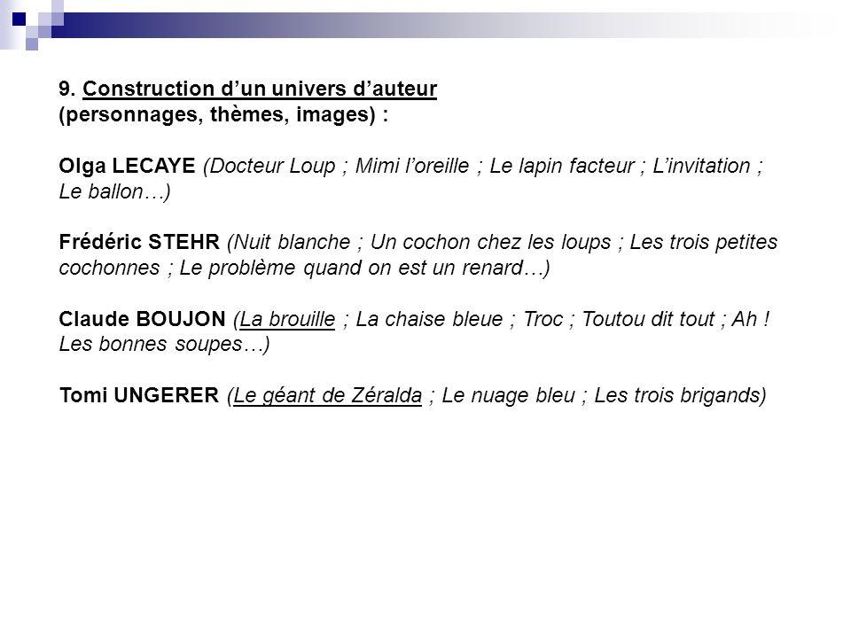 9. Construction dun univers dauteur (personnages, thèmes, images) : Olga LECAYE (Docteur Loup ; Mimi loreille ; Le lapin facteur ; Linvitation ; Le ba