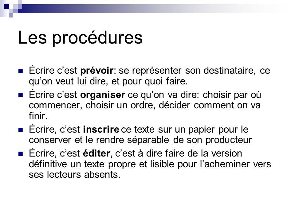 Les procédures Écrire cest prévoir: se représenter son destinataire, ce quon veut lui dire, et pour quoi faire. Écrire cest organiser ce quon va dire: