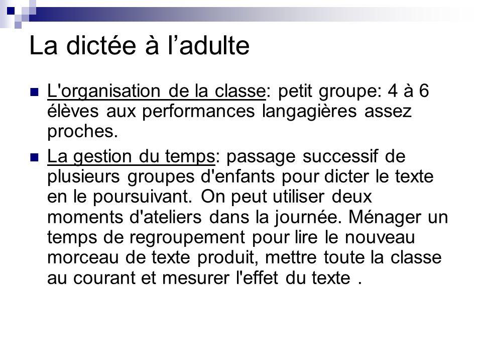 La dictée à ladulte L'organisation de la classe: petit groupe: 4 à 6 élèves aux performances langagières assez proches. La gestion du temps: passage s