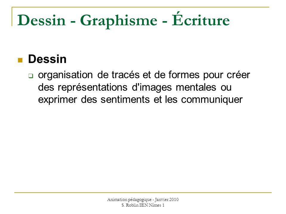 Animation pédagogique - Janvier 2010 S. Roblin IEN Nîmes 1 Dessin - Graphisme - Écriture Dessin organisation de tracés et de formes pour créer des rep