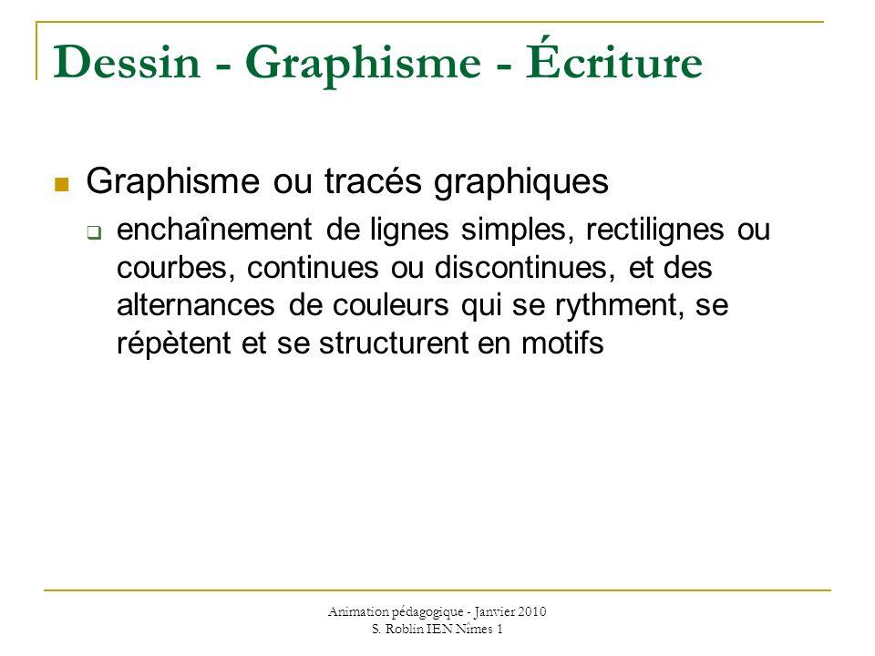 Animation pédagogique - Janvier 2010 S. Roblin IEN Nîmes 1 Dessin - Graphisme - Écriture Graphisme ou tracés graphiques enchaînement de lignes simples