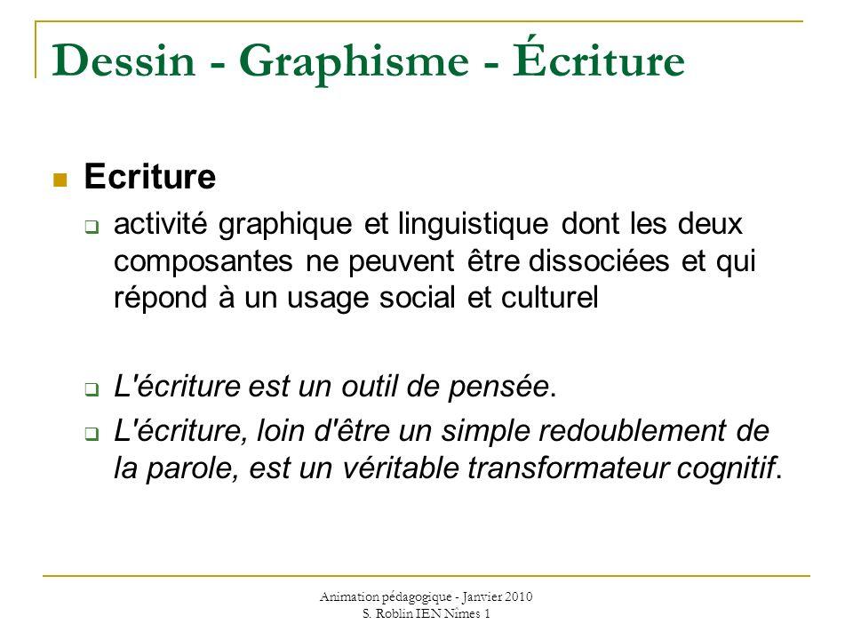 Animation pédagogique - Janvier 2010 S. Roblin IEN Nîmes 1 Dessin - Graphisme - Écriture Ecriture activité graphique et linguistique dont les deux com