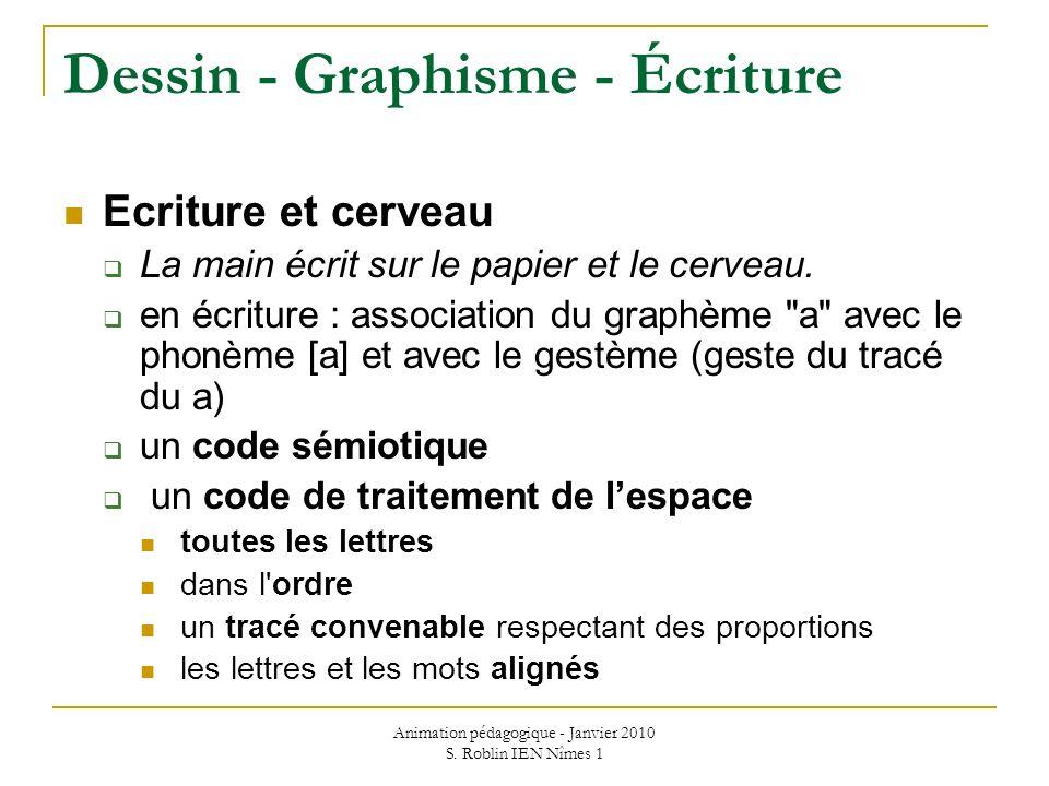 Animation pédagogique - Janvier 2010 S. Roblin IEN Nîmes 1 Dessin - Graphisme - Écriture Ecriture et cerveau La main écrit sur le papier et le cerveau
