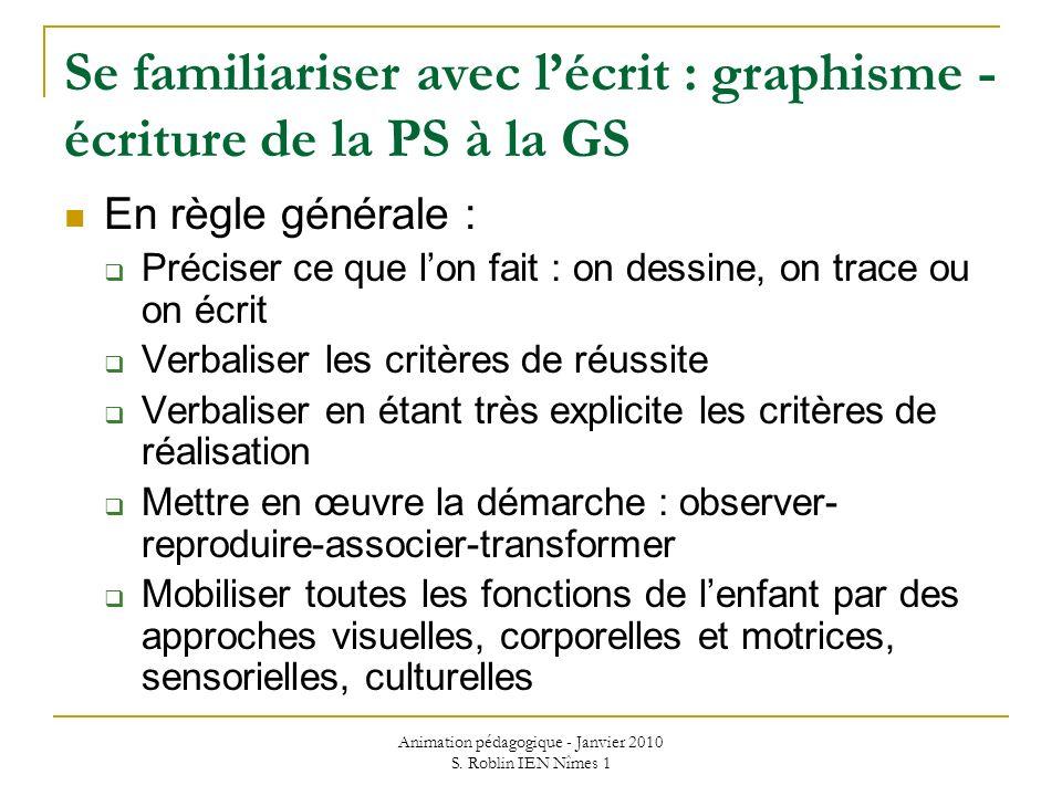 Animation pédagogique - Janvier 2010 S. Roblin IEN Nîmes 1 Se familiariser avec lécrit : graphisme - écriture de la PS à la GS En règle générale : Pré