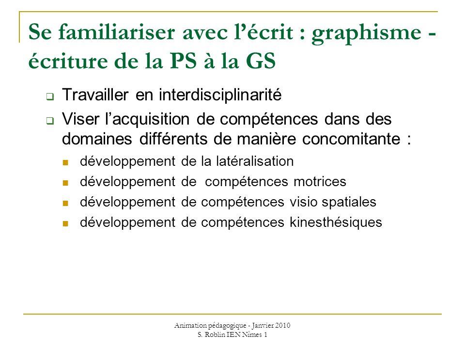 Animation pédagogique - Janvier 2010 S. Roblin IEN Nîmes 1 Se familiariser avec lécrit : graphisme - écriture de la PS à la GS Travailler en interdisc