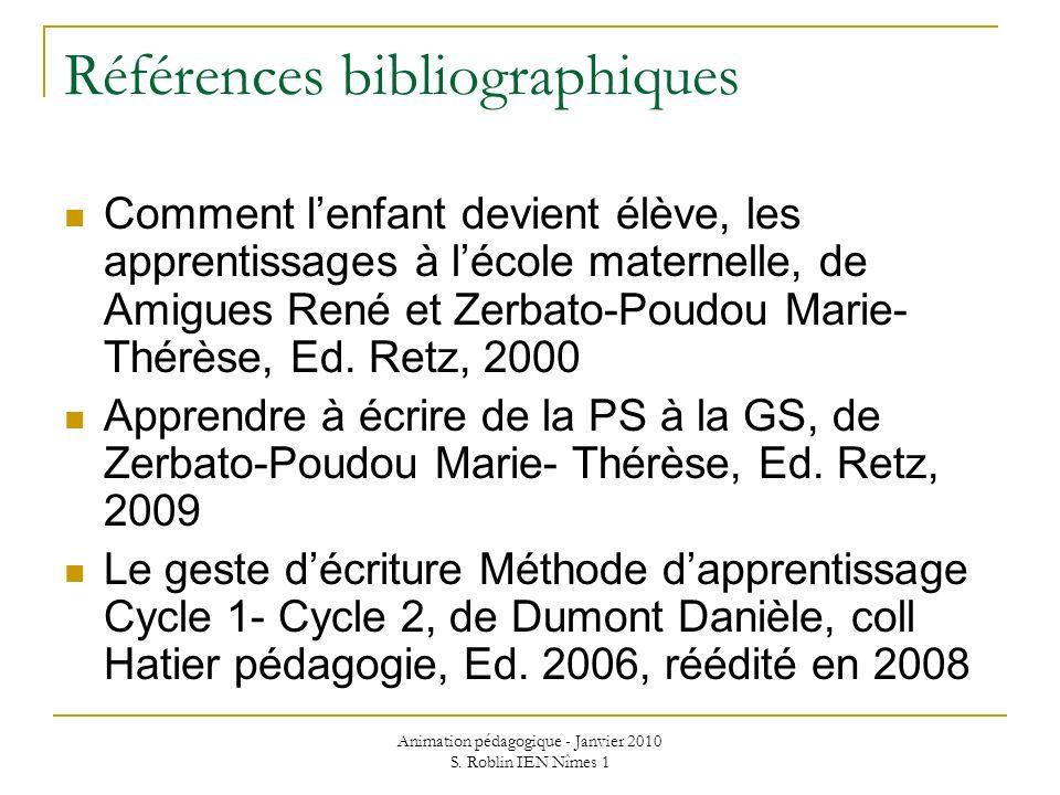 Animation pédagogique - Janvier 2010 S. Roblin IEN Nîmes 1 Références bibliographiques Comment lenfant devient élève, les apprentissages à lécole mate