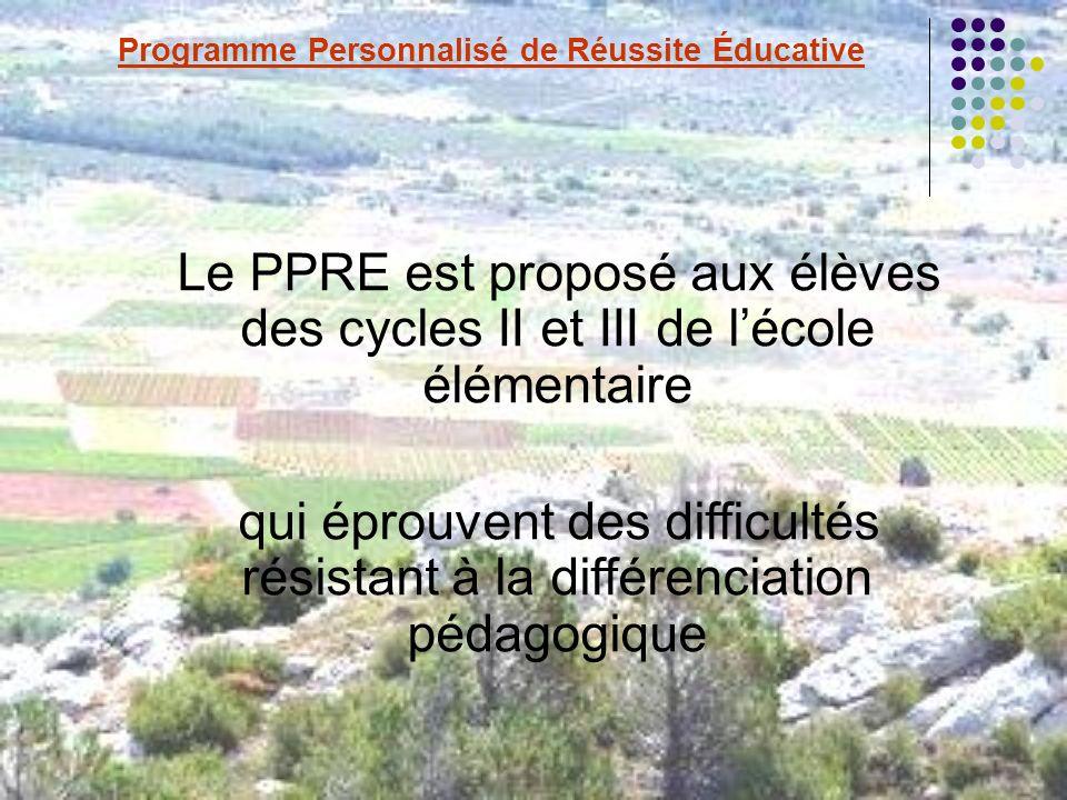 Le PPRE est proposé aux élèves des cycles II et III de lécole élémentaire qui éprouvent des difficultés résistant à la différenciation pédagogique Programme Personnalisé de Réussite Éducative