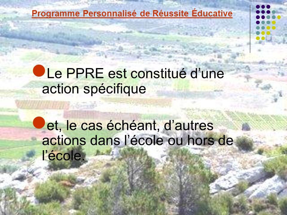 Le PPRE est constitué dune action spécifique et, le cas échéant, dautres actions dans lécole ou hors de lécole.